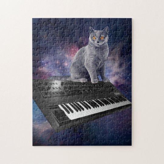 keyboard cat - cat music - space cat jigsaw puzzle