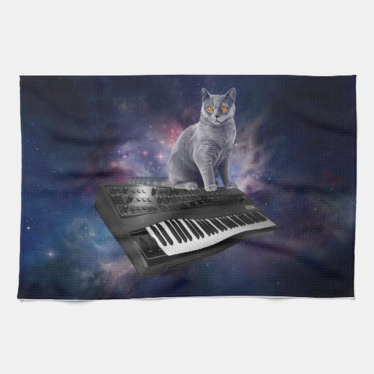 keyboard cat - cat music - space cat kitchen towel