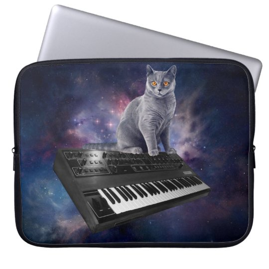 keyboard cat - cat music - space cat laptop sleeve