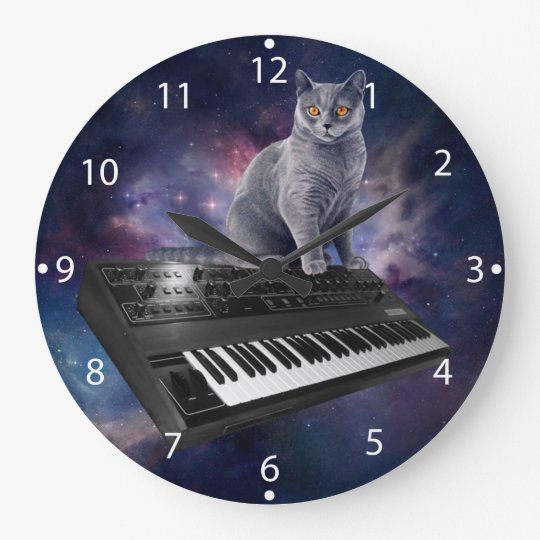 keyboard cat - cat music - space cat large clock