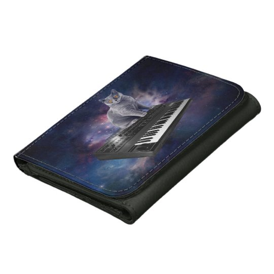 keyboard cat - cat music - space cat leather trifold wallet