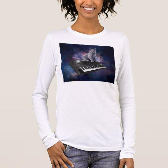 keyboard cat - cat music - space cat long sleeve T-Shirt
