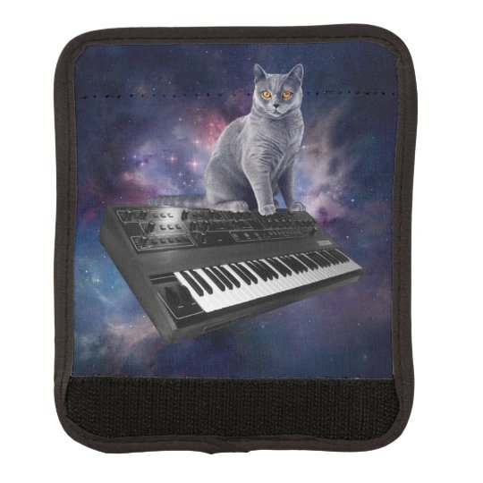 keyboard cat - cat music - space cat luggage handle wrap