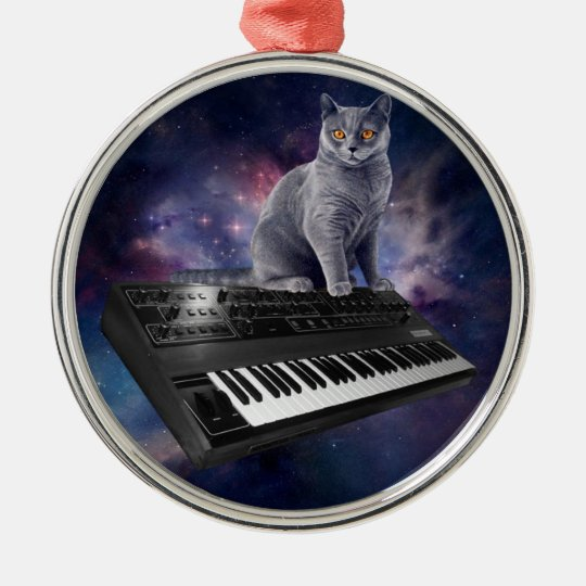 keyboard cat - cat music - space cat metal ornament