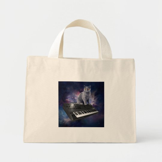 keyboard cat - cat music - space cat mini tote bag