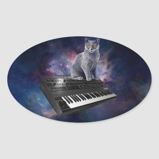 keyboard cat - cat music - space cat oval sticker
