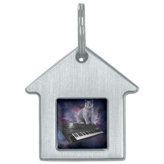 keyboard cat - cat music - space cat pet ID tag