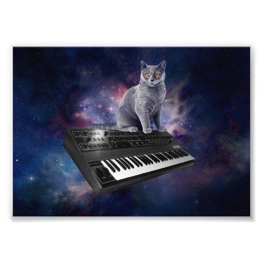 keyboard cat - cat music - space cat photo print