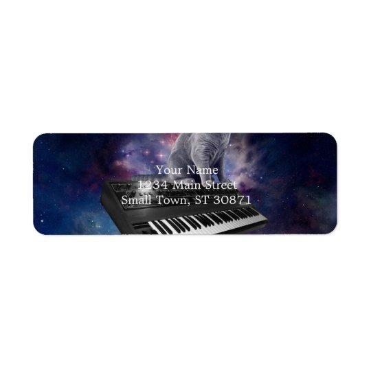 keyboard cat - cat music - space cat return address label