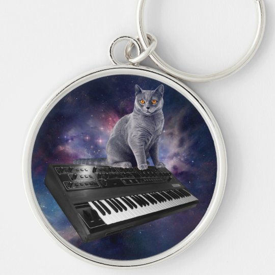 keyboard cat - cat music - space cat Silver-Colored round keychain
