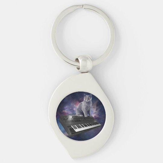 keyboard cat - cat music - space cat Silver-Colored swirl keychain
