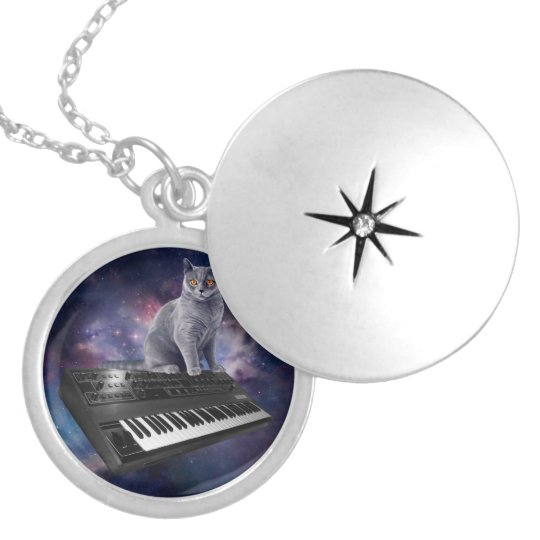 keyboard cat - cat music - space cat silver plated necklace