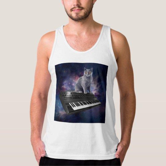 keyboard cat - cat music - space cat tank top