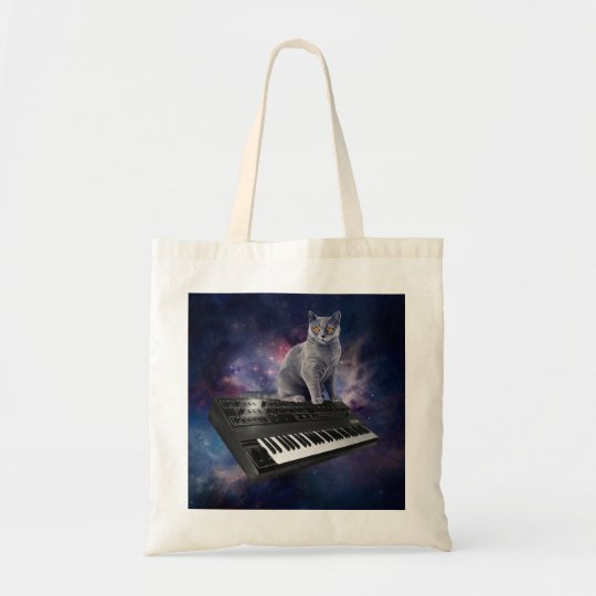keyboard cat - cat music - space cat tote bag