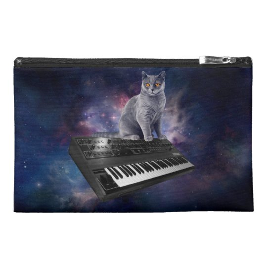 keyboard cat - cat music - space cat travel accessory bag