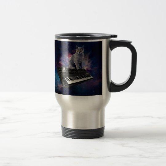 keyboard cat - cat music - space cat travel mug