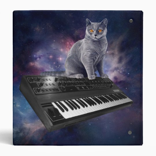 keyboard cat - cat music - space cat vinyl binder
