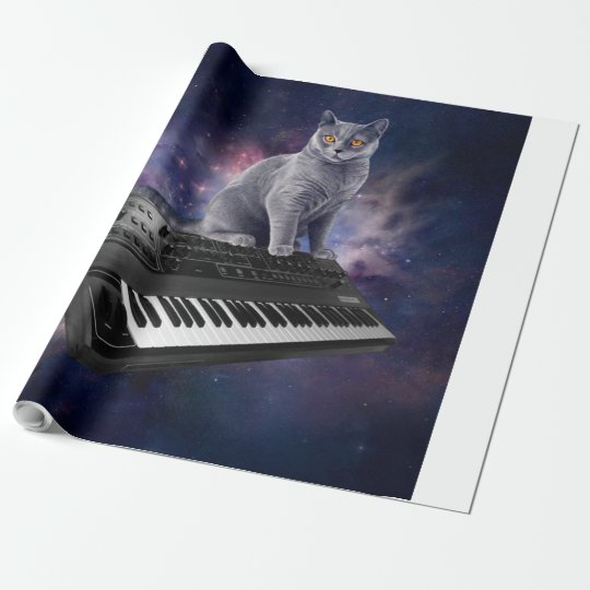 keyboard cat - cat music - space cat wrapping paper
