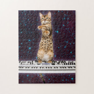 keyboard cat - funny cats  - cat lovers jigsaw puzzle