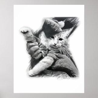 Keyboard Cat Pencil Drawing Poster