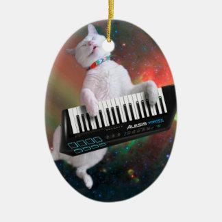 Keyboard cat - space cat - funny cats - galaxy cat ceramic ornament