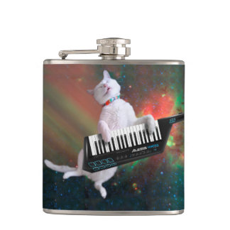Keyboard cat - space cat - funny cats - galaxy cat hip flask