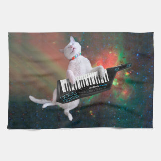 Keyboard cat - space cat - funny cats - galaxy cat kitchen towel