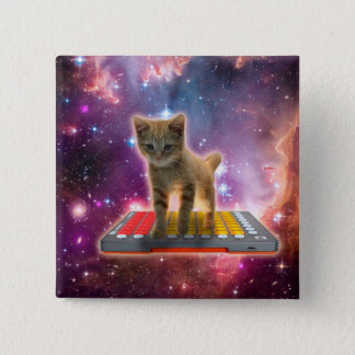 keyboard cat - tabby cat - kitty 2 inch square button
