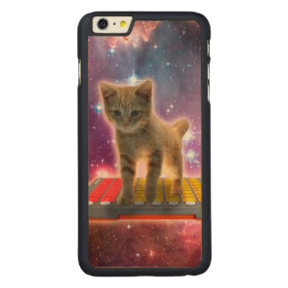 keyboard cat - tabby cat - kitty carved maple iPhone 6 plus case
