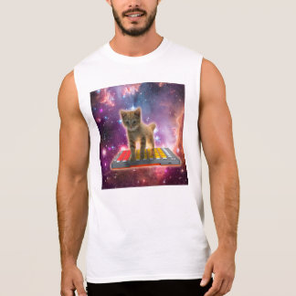 keyboard cat - tabby cat - kitty sleeveless shirt