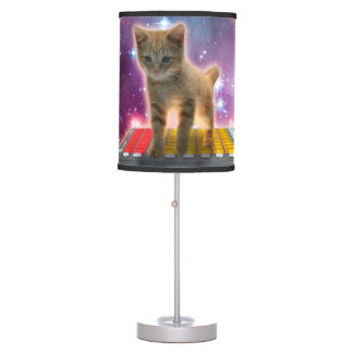 keyboard cat - tabby cat - kitty table lamp