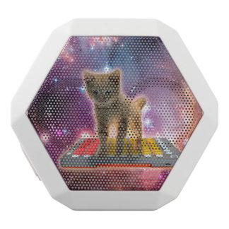 keyboard cat - tabby cat - kitty white bluetooth speaker