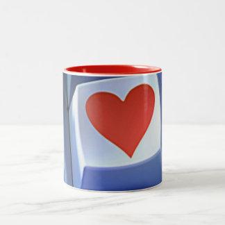 """KEYBOARD HEART"" COFFEE MUT Two-Tone COFFEE MUG"