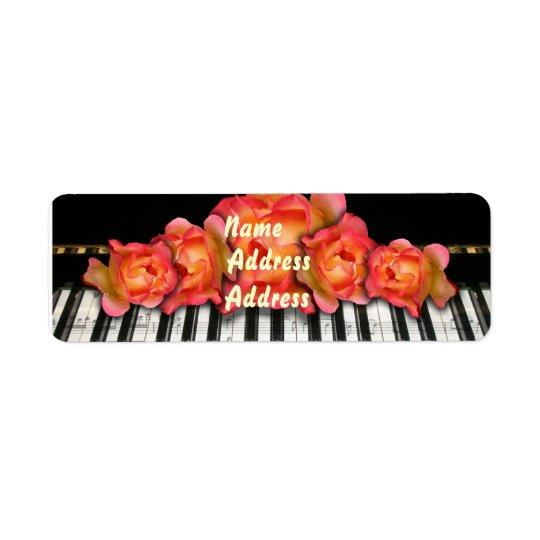 Keyboard Roses Piano Label