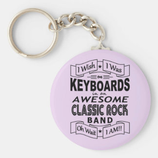 KEYBOARDS awesome classic rock band (blk) Keychain