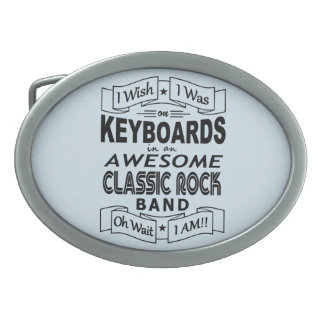 KEYBOARDS awesome classic rock band (blk) Oval Belt Buckle