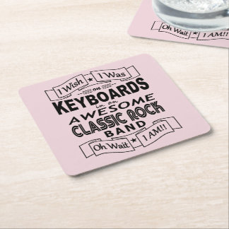KEYBOARDS awesome classic rock band (blk) Square Paper Coaster