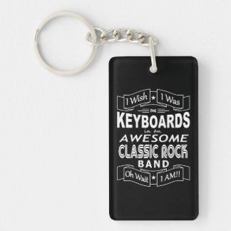KEYBOARDS awesome classic rock band (wht) Keychain