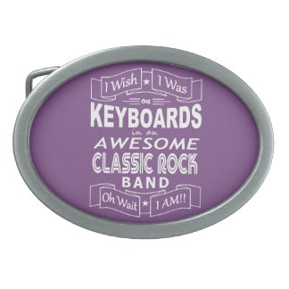 KEYBOARDS awesome classic rock band (wht) Oval Belt Buckle