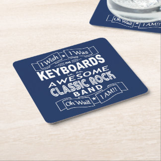 KEYBOARDS awesome classic rock band (wht) Square Paper Coaster