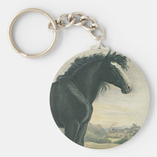 Keychain Antique Art Shire Black Draft Horse Moors
