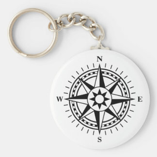 Keychain: black and white compass rose keychain
