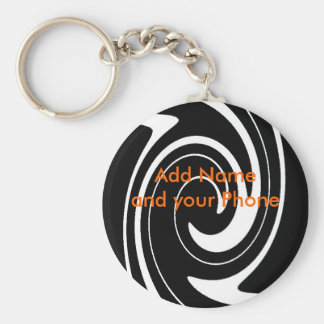 Keychain Black White Swirl Add Name and your Phone