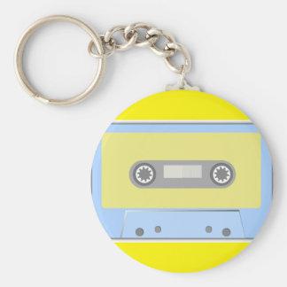 Keychain-Cassette Tape Basic Round Button Keychain