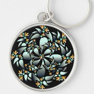 Keychain, Cute Floral Design, Silver Grey, Orange Silver-Colored Round Keychain