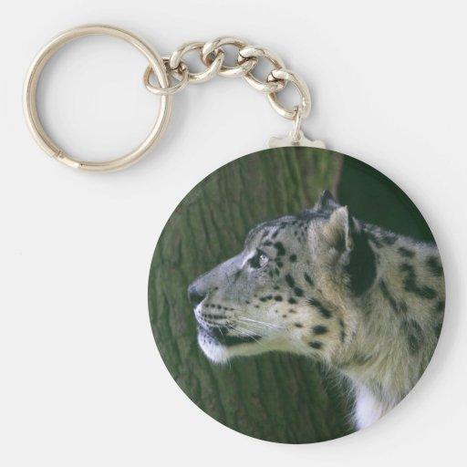 Keychain de photo de léopard de neige beau porte-clef