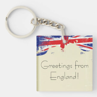 Keychain. Greetings from England. Double-Sided Square Acrylic Keychain