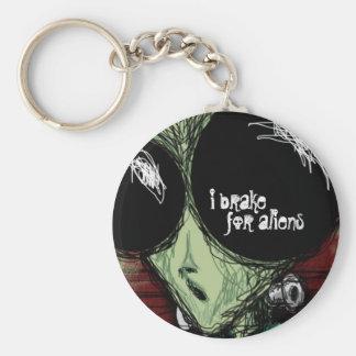 Keychain, I Brake For Aliens, Cute Cartoon Basic Round Button Keychain