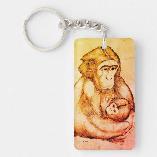 Keychain: monkey with baby (black pen design) Double-Sided rectangular acrylic keychain