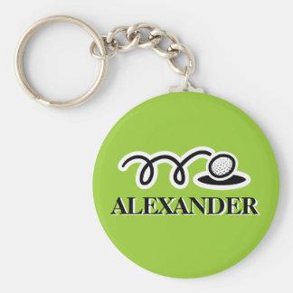 Keychain personnalisé de golf avec le nom fait sur porte-clé rond